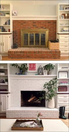 Fireplace - before and after - painted brick. It WILL get done. If I have to climb up there and SIT on it till it's done, it will get done. ! :/