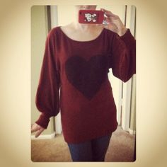 Romantic Heart Sweater $24.00, via Etsy.