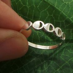 Moon Phases Silver Ring - Half Moon, Full Moon, Crescent Moon, Gaint Moon, Super Moon, Planet, Astrology, Astronomy, Solar System