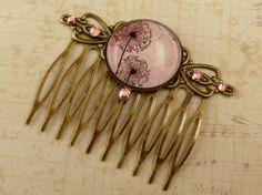 Trend hair comb with dandelions motif in pink by Schmucktruhe