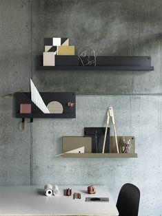 Folded Hylly S, Harmaa - Muuto @ Metal Shelves, Shelving, Mounted Shelves, Floating Shelves, Tole Pliée, Home Design, Interior Design, Design Shop, Interior Garden