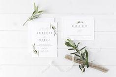 digital printable wedding suite 'ornate' · elegant wedding invitation · watercolor leaves · modern wedding invite · wedding greenery card
