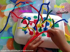 pipe cleaners, food tray, colourful shapes with holes to match. Motor Skills Activities, Creative Activities, Sensory Activities, Fine Motor Skills, Preschool Activities, Shape Activities, Motivation For Kids, Daycare Crafts, Montessori Toddler