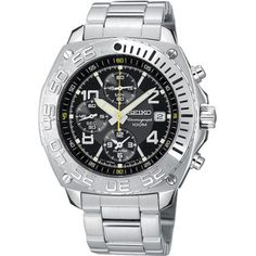 This Seiko Chrono is distinguished by an updated bezel treatment featuring a sandblasted background and raised polished numerals. Seiko SNA617 Stainless Steel Chronograph Watch from MChrono.com