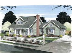 Cottage House Plan with 1675 Square Feet and 3 Bedrooms(s) from Dream Home Source | House Plan Code DHSW75399