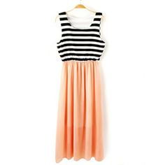 Casual Style Scoop Collar Sleeveless Striped Splicing Color Block Women's Sundress