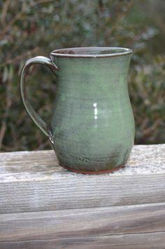 Pottery Mug with Handle Green Glaze NC Pottery by Beaverspottery, $16.00