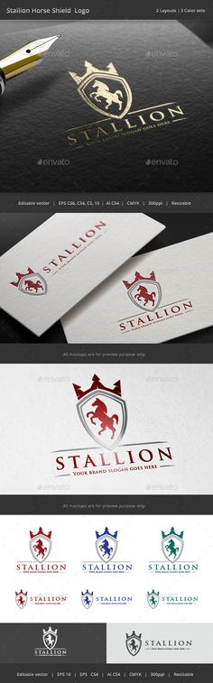 Stallion Horse Shield Crest Logo Template #design #logotype Download: http://graphicriver.net/item/stallion-horse-shield-crest-logo/11212129?ref=ksioks