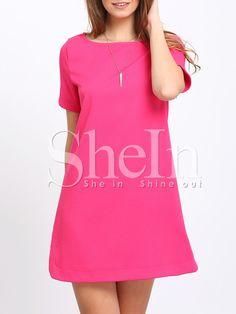 Rose Red Dolphin Hem Zipper Back Shift Dress