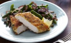 Curtis Stone's Parmesan And Dijon Crusted Chicken With Pan Fried Green Beans And Capers Recipe - Curtis Stone Recipes Curtis Stone Recipes, Easy Healthy Recipes, Easy Meals, Fried Green Beans, Crusted Chicken, Yum Food, Yummy Yummy, Chefs, Wine Recipes