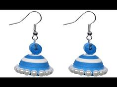 Paper Quilling Ear Ring Jhumka Tutorial   2 colours with pearl beads