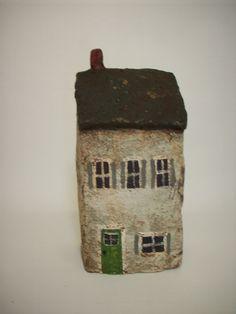 Little Grungy Gray Primitive Paper Mache House