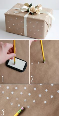 Gift wrapping ideas and tips that will make giving presents even more fun and thoughtful. Easy tutorials on gift wrapping ideas that are budget-freindly. Homemade Gifts, Diy Gifts, Wrap Gifts, Wrapping Ideas, Gift Wrapping, Wrapping Papers, Diy Kraft Wrapping Paper, Kraft Paper, Diy Paper