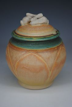 Two Rabbit Carved Pot