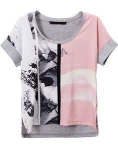 Grey Pink Short Sleeve Digital Print T-Shirt - Sheinside.com