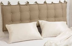 "Tufted Wool-Filled Headboard Cushion / Queen size / 63"" x 20"" x 2"" / Cover: 100% Flax"