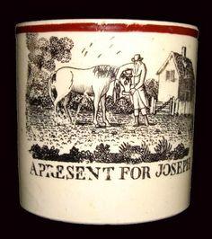rare nursery mug c1830  cat fiddle cow moon  bo peeps