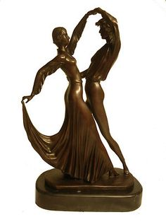 Bronze Demetre Chiparus Tango Dance Couple Female and Male Art Sculpture Statue