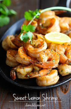 Sweet Lemon Shrimp - The easiest, most simple and flavorful shrimp marinated in a sweet and tangy lemon sauce that everyone will love! @Chung-Ah Rhee