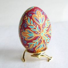 Pysanka, Ukrainian Easter egg, chicken egg shell hand painted batik style. $24.95, via Etsy.