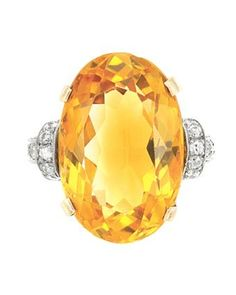 Gold, Platinum, Citrine and Diamond Ring 14 kt., one oval citrine ap. Diamond Rings For Sale, Diamond Jewelry, Gemstone Jewelry, Pearl Jewelry, Marcasite Jewelry, Citrine Earrings, Shades Of Gold, Luxury Jewelry, Jewelry Trends
