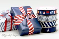 Our nautical ribbons that feature sailboats, seashells and anchors, go along with white and red striped ribbons perfectly. This mix-and-match combination can be a great decoration for your Father's Day gifts.