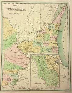 Antique map of Iowa and Wisconsin