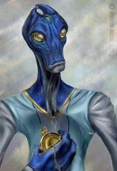 PSW - C is for.Crazy Blue Salarian by MoonEcho on DeviantArt Mass Effect Races, Mass Effect Art, Mass Effect Characters, Fantasy Characters, Character Concept, Character Art, Character Design, Alien Races, Alien Creatures