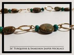 Turquoise & Snakeskin Jasper Necklace and Earrings Rock Necklace, Beaded Bracelets, Necklaces, Snake Skin, Jasper, Rocks, Turquoise, Free Shipping, Earrings