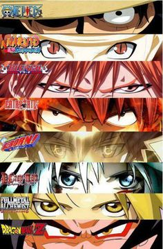 All in the eyes. Luffy, Naruto, Ichigo, Natsu, Tsuna, Allen, Edward, Goku
