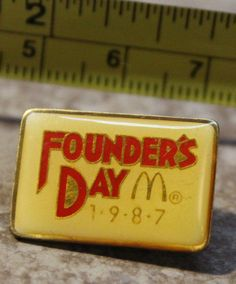 McDonalds Founders Day 1987 Employee Collectible Pin Button #McDonalds