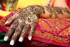 colorful bridal mehndi (pink  green)  Shaadi Belles : Search, Save,  Share your South Asian Inspiration
