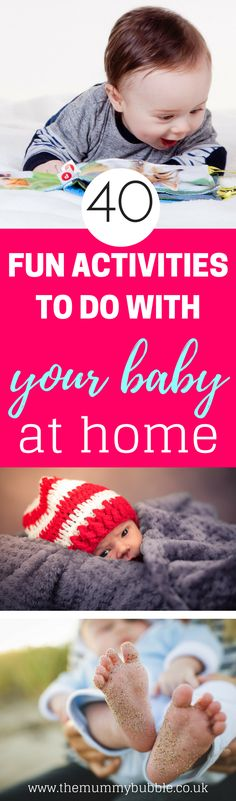At home with your baby all day and not sure what to do? Here are 40 ideas for activities to keep you both entertained! Lots of inspiration for mamas