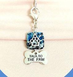 Blue Jasper Dog Collar Charm, Pet Collar Charm, Dog Collar Statement Pendant, Bling, Gemstone Dog Jewelry, Pet Accessories, Pet Lover Gift by RBeadDesigns