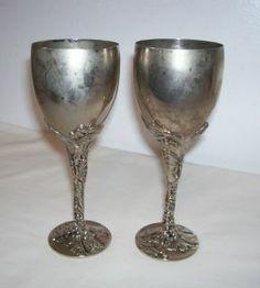 Vintage Godinger Silverplate Grape Leaf Wine Goblets