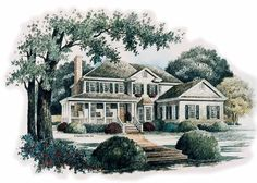 Country House Plan with 2790 Square Feet and 4 Bedrooms(s) from Dream Home Source | House Plan Code DHSW42462 Southern Homes, Southern Living House Plans, Country Style House Plans, Country Home Design, Front Elevation, Elevation Plan, Porch Wood, Wood Siding, Early American Homes
