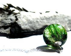 moss necklace resin jewelry nature inspired  lichen necklace
