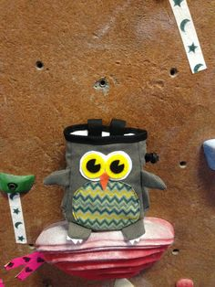 Cute Gray #Owl with Chevron Chalk Bag by #ClovenHoofStudio on #Etsy #chalkbags #climbing Crafted by Climbers