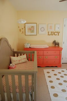 Baby nursery ideas for girl · lucy's gray, coral and gold nursery - project nursery coral gold nursery, yellow and Nursery Room, Girl Nursery, Girl Room, Baby Nursery Ideas For Girl, Nursery Gray, Nursery Dresser, Nursery Decor, Coral Gold Nursery, Yellow And Pink Nursery