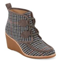 Women's G.h. Bass & Co. Rosa Wedge Bootie ($140) ❤ liked on Polyvore featuring shoes, boots, ankle booties, charcoal plaid fabric, wedge boots, wedge booties, lace-up boots, lace-up bootie and ankle boots