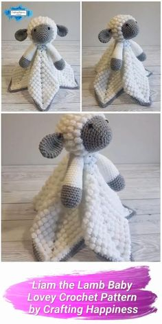 Liam the Lamb Lovey is a crochet pattern for a cute baby security blanket. Make this animal baby lovey with this easy crochet pattern from Crafting Happiness Crochet Lovey Free Pattern, Crochet Dolls Free Patterns, Crochet Blanket Patterns, Crochet Stitches, Baby Blanket Crochet, Crochet Security Blanket, Lovey Blanket, Baby Patterns, Crochet Baby Mobiles