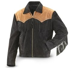 Men's Traditional Western Suede Leather cowboy Jacket coat with fringes vintage - Outerwear