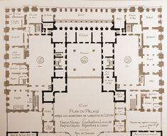 Ground floor plan of the centre, Chateau de Versailles, showing original chateau surrounded by the new building