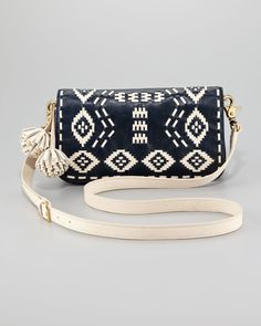 Tory Burch Claire Embroidered Leather Clutch in Blue via Lyst