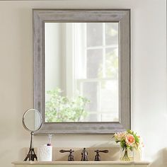 Silver Grid Framed Mirror, 29x35 | Kirklands