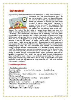 worksheet – Free ESL printable worksheets made by teachers Exhausted! worksheet – Free ESL printable worksheets made by teachers English Writing Skills, English Reading, English Lessons, Learn English, French Lessons, Spanish Lessons, Math Lessons, Reading Comprehension Activities, Reading Worksheets