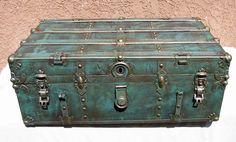 Old restored metal chest by ArtTreasuresByZoran on Etsy, $185.00