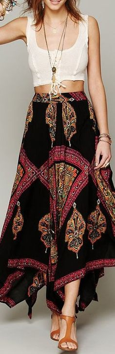 Boho pretty styles (what a delicious dreamy maxi skirt)