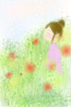 girl in the field.   Japanese artist, naoko sugiura drowing