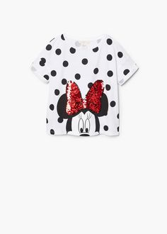 Cotton fabric Spots print Minnie Mouse print Reversible sequins panel Rounded neck Short sleeve with turnover Girls Tees, Shirts For Girls, Disney Outfits, Kids Outfits, Kid United, Winter Baby Clothes, T Shirt Painting, Cute Blouses, Roll Up Sleeves